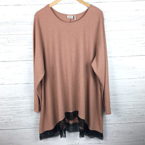 LOGO by Lori Goldstein Tan Rib Knit Tunic Top
